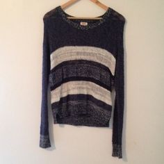 Navy stripped sweater Very comfortable navy and blue knit stripped sweater worn once in very good condition! Mossimo Supply Co Sweaters