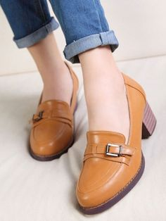Brown Vintage British Style Thick Heel Shoes