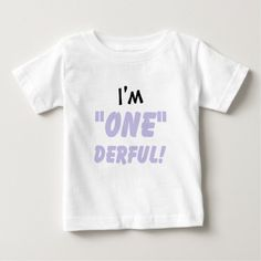 """Fun """"I'm ONEderful"""" T-shirt for child's 1st birthday or """"cake smash"""" photo!"""