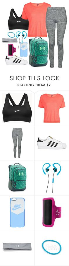 """""""Sporty Back to School"""" by sarelle-20 ❤ liked on Polyvore featuring NIKE, Sweaty Betty, Topshop, adidas Originals, Under Armour, Avia, BackToSchool, school and sporty"""