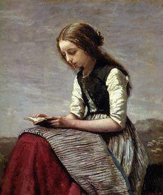 Camille Corot - Girl Reading, 1855