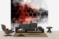 Red Hexagon Background - Wall Mural & Photo Wallpaper - Photowall
