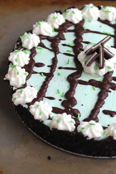 A luxurious Baileys chocolate filling—topped with swirls of minty whipped cream—makes this one extremely decadent cream pie. Get the recipe at Grandbaby Cakes.