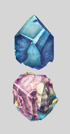 Karina Eibatova's richly colored depictions of raw minerals are wrought from watercolor paints. Illustration Cristal, Illustration Art, Grafik Design, Rocks And Minerals, Stones And Crystals, Healing Crystals, Watercolor Art, Art Photography, Artsy