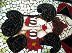 """""""Estella Detroit"""" The foxy burlesque twizzler girl in stained glass mosaic."""