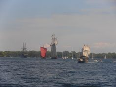 From right to left: St. Lawrence II, Pride of Baltimore II, Draken Harald Harfagre and El Galeon