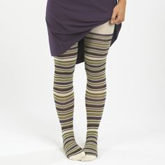"Off Organic Cotton ""Grapevine"" Tights at Kasper Organics. Clothes Encounters, Fair Trade Clothing, Eco Friendly Fashion, Clothing Deals, Stripes Fashion, Unique Outfits, Tight Leggings, Striped Knit, Ethical Fashion"