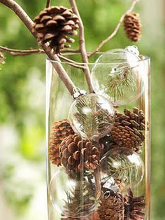 Add a snip of pine to clear glass balls, add to pine cones in a vase along with branches with pine cones glued on... stunning! http://www.bhg.com/decorating/seasonal/fall/decorate-with-pinecones/?sssdmh=dm17.552362&esrc=nwcu100411c&email=1153785#page=22