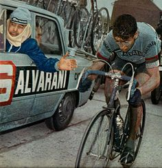 cadenced: Felice Gimondi in Salvarani kit for the 1966 edition of Paris-Roubaix which he would go on to win.