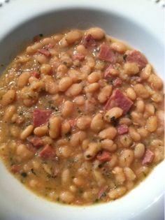 sweet and simple...and a dash of crazy: Crockpot White Bean and Ham Soup -Looks & sounds delicious!