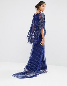 A Star Is Born | A Star Is Born Embellished Lace Cape Back Maxi Dress