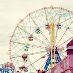 Head to your local amusement park and ride the Ferris wheel! Carrousel, Amusement Park Rides, Carnival Rides, Fun Fair, Coney Island, Roller Coaster, Retro, Kitsch, Brooklyn