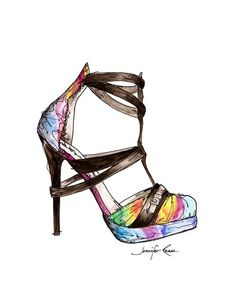 Ana Locking Shoe Watercolor Fashion Sketch Print