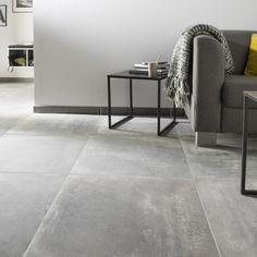 Anthracite gray tile effect concrete for a living room design Grey Floor Tiles, Grey Flooring, Tile Flooring, Living Room Flooring, Kitchen Flooring, Santa Helena, Beton Design, Floor Decor, Living Room Grey