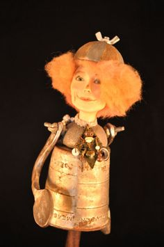 Fantasy art doll , OOAK, whimsical, assemblage , polymer clay dolls, artist doll sculpted , girl in rust pewter bronze red. $180.00, via Etsy.