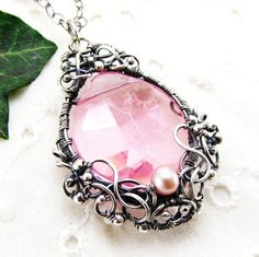 Items similar to Sterling Silver Pink Crystal Pearl Pendant Necklace Handmade Wire Wrapped Jewelry on Etsy Handmade Wire, Handmade Necklaces, Handmade Jewelry, Etsy Handmade, Wire Wrapped Jewelry, Metal Jewelry, Vintage Jewelry, Silver Jewelry, Jewelry Crafts