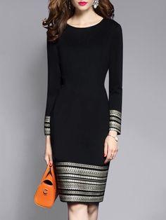 868beb2eb3b9e Round Neck Plain Blend Bodycon Dress -  Blend  Bodycon  dress  Neck  Plain. Woman  Clothes
