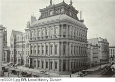 """The Rochester Savings Bank was chartered in 1831 and quickly expanded its operations from a single window to a new home on State Street in 1842 (okay, maybe the term """"quick"""" is relative!). In 1853, under the direction of architect Henry Searle, construction began on a 3-story structure capped with an impressive dome-shaped roof. Operations at this location began in 1853 and lasted until 1928. Sadly, the building was demolished in 1955 to make way for construction of a new building."""