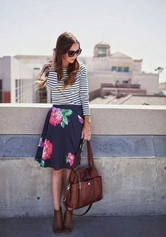 Stripes with floral, ankle boots