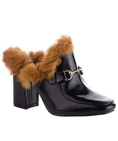 Cape Robbin #Women's #Fashion Faux Shearling Sliders Slip On Fur Buckle Decor Slipper Loafer Heeled Sandals  #theladybuff #amazon.com