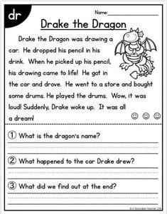 Kindergarten Lessons, Kindergarten Reading, Teaching Reading, Reading Classes, Reading Comprehension For Kids, Reading Passages, 2nd Grade Worksheets, Reading Worksheets, Words To Spell
