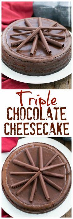 Triple Chocolate Cheesecake | A dreamy, chocolate lover's dessert! #cheesecake #chocolate