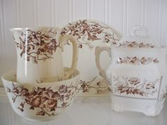 Antique Brown Transferware ~ Ivy and Birds | Brown Transferware