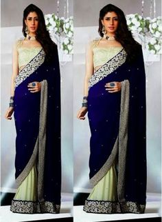Stunning Navy Blue & Offwhite With Velvete Palla #Saree