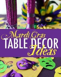 Mardi Gras table decorations I Get in the festive spirit with these fun centerpieces and napkin holders.
