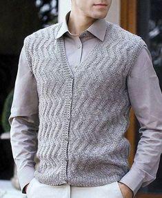 #Мужская #жилетка #спицами Crochet Men, Knitting Designs, Hugo Boss, Knitwear, Crochet Patterns, Men Sweater, Vest, Mens Fashion, Jackets