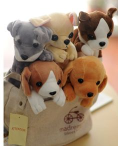 Candice guo! super cute plush toy animal dog Chihuahua Schnauzer puppy pencil bag storage bag birthday gift 1pc