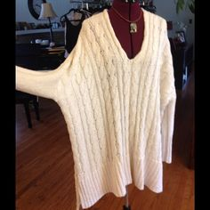 Gorgeous oversized sweater or dress New, never worn. Cable knit all cotton and oh so comfortable to wear. Free People Sweaters V-Necks
