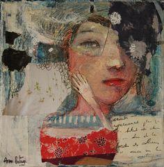 "⌼ Artistic Assemblages ⌼  Mixed Media & Collage Art - ""Quand tu m'écris"" mixed medias on canvas 20X20cm"