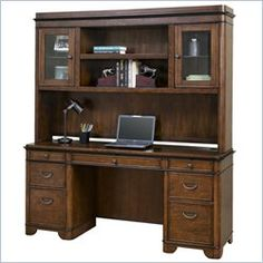 Kathy Ireland Home by Martin Kensington Computer Credenza and Hutch in Warm Fruitwood