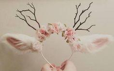hair accessories crown horns ears cute deer cute lovely kawaii flower crown - Nail Effect - Floral Garland, Flower Garlands, Kawaii Accessories, Hair Accessories, School Accessories, Deer Ears, Antler Headband, Deer Costume, Halloween Costumes