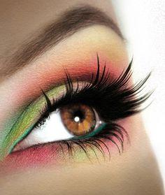Green and pink Eye makeup