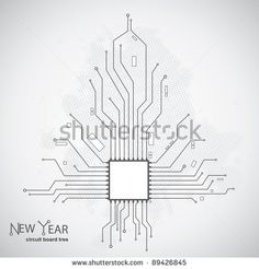 Circuit board pattern in the shape of the Christmas tree - stock vector