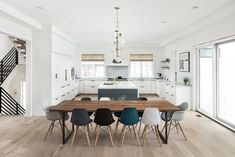 Modern dining room ideas Modern farmhouse with modern dining table and modular dining chairs Wooden Dining Tables, Modern Dining Table, Dining Room Chairs, Eames Style Dining Chair, Modern Farmhouse Table, Farmhouse Table Chairs, Farmhouse Ideas, Side Chairs, Dining Area