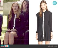 Maddie's black button front dress with white trim on Nashville.  Outfit Details: http://wornontv.net/52793/ #Nashville