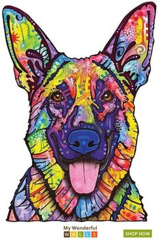 This Dogs Never Lie German Shepherd graphic was created by artist Dean Russo and made into a wall decal cut out sticker by My Wonderful Walls. Available in multiple sizes. German Shepherd Painting, Stencil Painting On Walls, Animal Wall Decals, Pet Clinic, Farm Theme, Colorful Animals, Dog Houses, Dog Art, Dean Russo