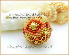 Beaded Bead Tutorial - Sharri's Signature Bead - peyote stitch - instant download