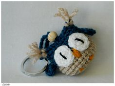 Handmade Cute Amigurumi Crochet Owl Keychain Blue and Beige, Amigurumi Eule Schlüsselanhänger by Etilinki on Etsy