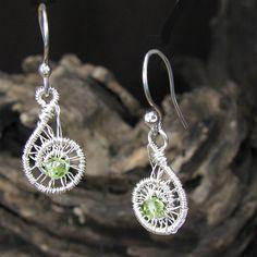 Sterling Silver Peridot Earrings Fine Silver Wire Wrap Spirals | bohowirewrapped - Jewelry on ArtFire