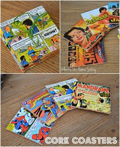 These fun cork coasters are made from Cork sheets, Comic book pages, Vintage Movie posters and Mod Podge. www.whatsurhomestory.com