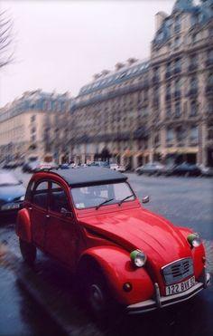 vintage red citroen in Paris...