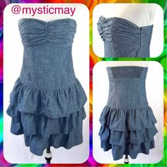 Strapless Tiered Blue Chambray Denim Dress Size S Adorable blue chambray dress with the look of soft denim! Strapless with elastic across the back for a great fit. Fun tiered/layered skirt that falls above the knee. Hidden side zip closure. Size S or 4/6. In Excellent Condition with a faint scratch on the chambray on the bust (not noticeable, see pic 4). Cute day dress!           Bundle 2 or More Items and Save 15% Off Automatically!  Express Dresses Midi
