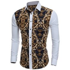 aa35825902  13.56 Slim-Fit 3D Retro Printed Shirt Fitted Dress Shirts