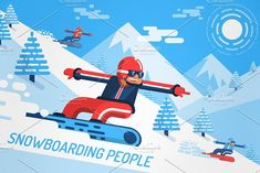Snowboarding People by Agor2012 shop on @creativemarket