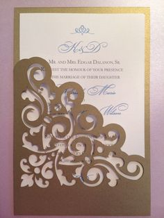 Lasercut Wedding Invitation Sleeve Pocket - Elegant Scroll Pattern - Die Cut Pocket