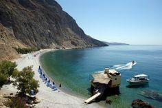 Learn about Glyka Nera beach, near Loutro, Sfakia, Chania, Crete Crete Chania, Crete Greece, Beach Fun, Beach Trip, Crete Beaches, Crete Island, Hidden Places, Water Sources, Island Tour